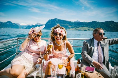 Wedding guests celebrate on ship