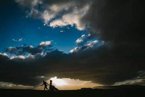 Wedding pictures with sunset