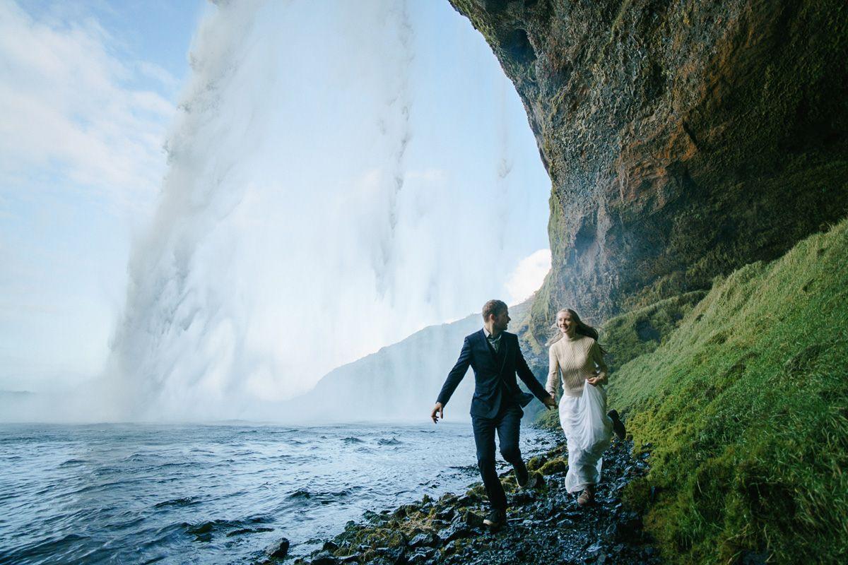 iceland wedding, island shooting, waterfall photos