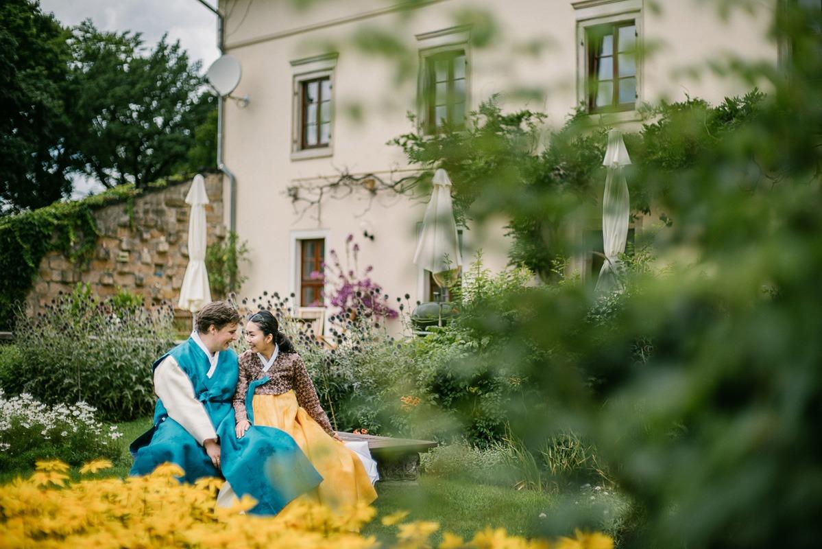Sommerhochzeit in Dresden. Hochzeitsfotograf Schloss Albrechtsberg